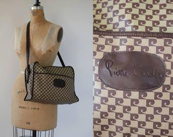 vintage Pierre Cardin messenger bag / 60s designer shoulder bag / brown overnight bag / 1970s designer purse / large cross body bag