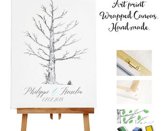 Art print wrapped canvas + 3 ink pads - Wedding Tree Guest Book - Fingerprint -  Thumb Tree  - Wedding Gift - Romantic our Drawing Print