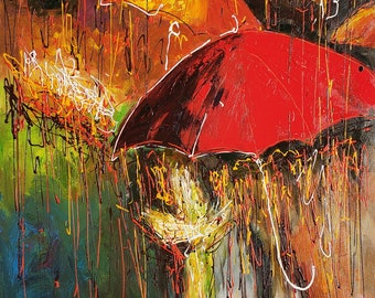 Rhapsody in Rain, Abstract - 36x48 - 100% Hand Painted Oil Painting on Canvas
