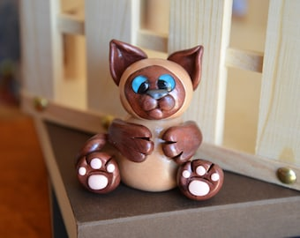 Hand Crafted Polymer Clay Siamese Cat