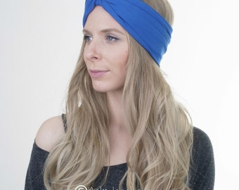 French Blue Turban, Yoga Headband, Workout Hairband, Boho Turban, Twisted Headband, Stretchy Headband, Womens Headband, Fashion Accessory