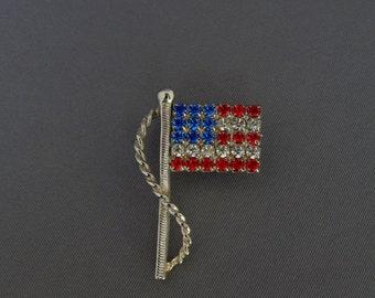 Vintage American Flag Rhinestone Pin Fourth of July, American Flag Pin Brooch, Patriotic Americana Jewelry