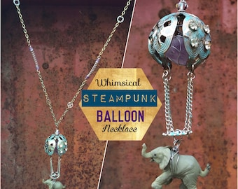 Whimsical Steampunk Hot Air Balloon Flying Elephant Necklace made with Vintage Earring, Amethyst, & Swarovski Crystal