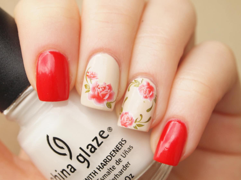 1 sheet of red rose nail art water decals/ 20pcs floral nail ...
