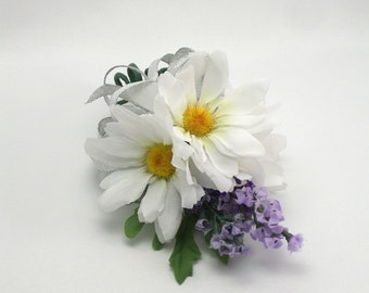 Daisy Lavender Corsage, Wedding, Prom, Special Occasion Flowers