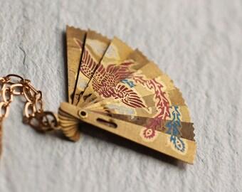 Japanese Fan Necklace, Crane Necklace, Birthday Gift, Miniature Necklace, Folding Fan Pendant, Vintage Statement Necklace, New Baby Gift