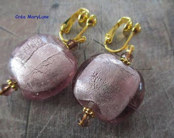 Clip earrings for non-pierced ears smoked pink