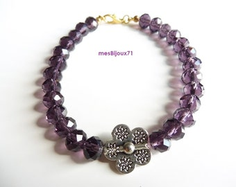 Dark purple bracelet glass faceted beads and metal flower. Purple jewelry. Purple bracelet. Flower jewelry