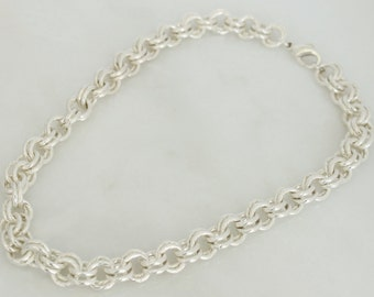 Sterling Silver Large Double Link Necklace 18'' 112.6 grams