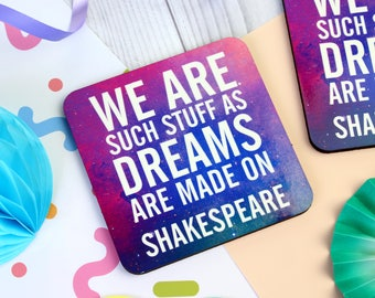 William Shakespeare Coaster. Shakespeare Coaster. Book Lover. Book Geek. Bookworm. Book Nerd. Literary Gifts. Literary Coaster. Shakespeare