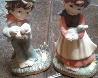 Vintage Boy and girl figurines from ardco made in taiwan
