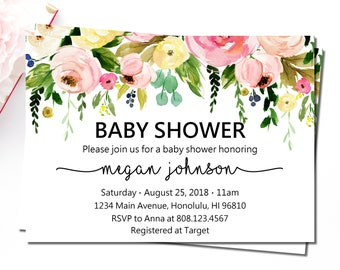 Floral Baby Shower Invitation, Spring Baby Shower Invitation, Garden Boho Floral Baby Shower Invitation, Personalized Printable Invites, C37