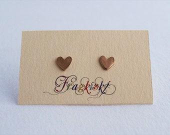 Heart Earrings, Stud Earrings, Rose Gold Earrings, Sterling Silver 925, Rose Gold Heart, Hearts, Handmade Earrings, Earrings, Small Earrings