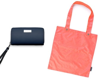 GENECIE Women's Zero Waste Wallet With a Built-In Reusable Shopping Bag - MIDNIGHT BLUE with Coral shopping tote