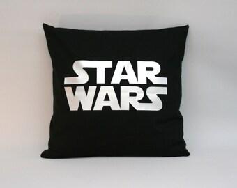 STARWARS Pillow cover, Starwars cushion, black silver pillow, starwars logo, 16 x 16 inch