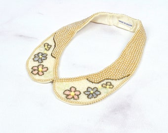 1950s Beaded Collar with Floral Details and Pearls One Size
