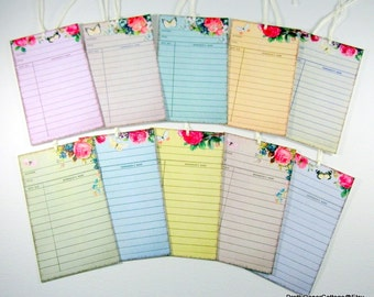 Library Card, Tags, Decorative, Pastel Colors, Gift Tags, Book Club, Tea, Party, Shabby Chic, Set of 10