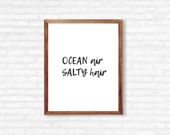 Ocean air salty hair wall Quote | Ocean Quote Printable | Beach Wall Decor | Trendy Wall Art | Instant Download | Printable Wall Decor