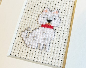 Mini Custom Cross Stitch Pet Portrait in Pixel (Framed)