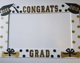 2018 -Black and Gold Graduation Frame great as a photo booth prop or a decoration!