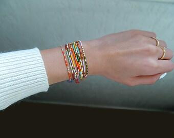 LOT DE 2 bracelets inspiration code Morse perles Miyuki personnalisable (prix réduit*)