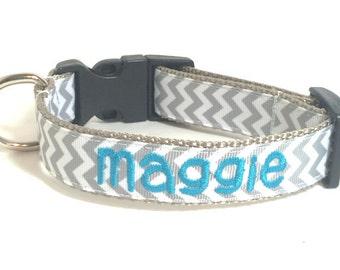 Chevron Dog Collar - Personalized  Dog Collar - New Font!