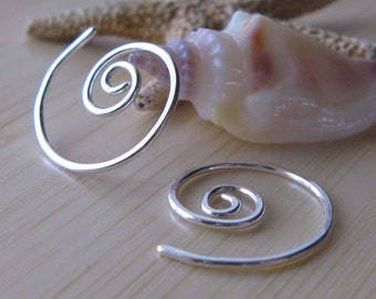 Small spiral earrings. Minimalist jewelry. Dainty sterling silver or 14k gold filled swirls. Unique affordable gift for women.