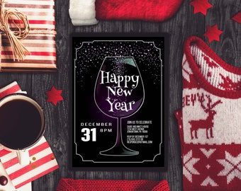 Wine New Years Eve Party Invitation, New Years Party Invite, NYE Invitation, New Year Party Invitation, Printable NYE Party Invitation, NYE