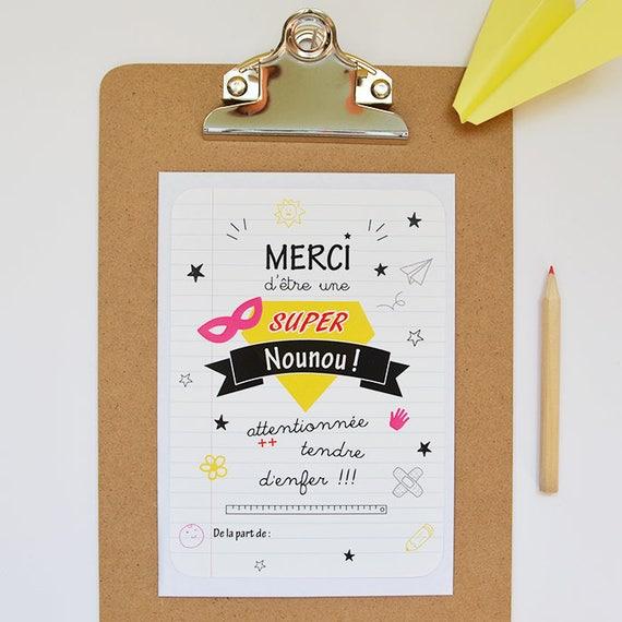 Assez Carte remerciements Nounou cadeau nounou super nounou carte KK63
