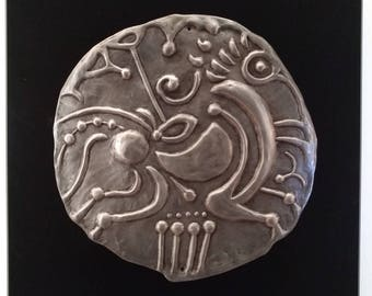 Symbolic Celtic coin - relief pewter horse