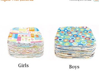 Spring Sale Sweet Bobbins Cloth Wipes - 25 wipes - Choose Gender  - OBV and Flannel - 8x8