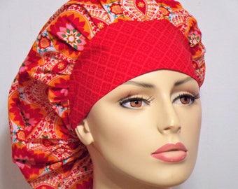 Bouffant Orange Medallion Floral Scrub Hat-Scrub Caps-Womens Scrub Hat-Bouffant Scrub Hats-SilverCaps- Hat-Medical Scrub Hats