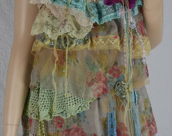 "Dress ""La Belle du jour"" ruffle tunic dress, soft, fluid and romantic, Boho dress"