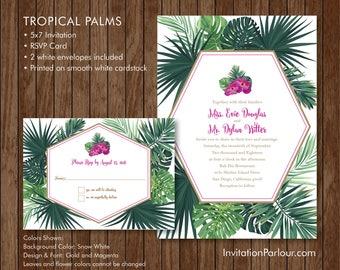 Tropical Palms Wedding Invitation Set - Printed - Customizable