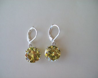 PERFECT SIZE - Peridot Lemon Lime Gemstone Earrings in 925 Sterling Silver 12mm round