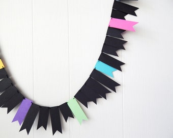 Neon Black Garland / Neon Black Bunting / Neon Black Kids Room / Black Fringe Garland / Neon Black Decor / Neon and Black Photo Prop