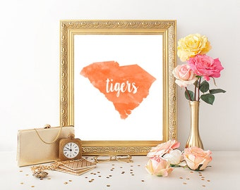 Clemson Tigers Watercolor State Printable (8x10)