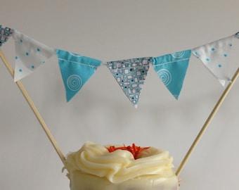 CAKE TOPPER BOY -Blue Fabric Boy Birthday Cake Banner Garland--Baby Boy Shower--Smash Cake Boy--Baby Boy First Birthday--Birthday Cake Flags