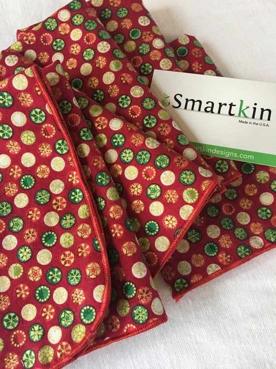 Red, Green and Gold Holiday Bursts All Cotton Cloth Napkin 12x15 in Size by Smartkin
