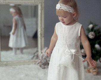 White linen girl dress  - Flower girl dress, headband, tote bag - Christening girl dress - white girl dress