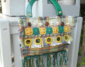 gipsy hand bag pochette hand bag crochet bag fringe bag hippy style bag handmade bag