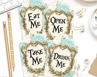 Alice In Wonderland Gift Tags, Alice Tags, Gift Tag, Wonderland Gift Tag, INSTANT DOWNLOAD, Alice Party, Tea Party, Wonderland Tags,Drink Me