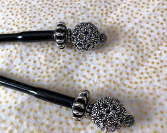 Brighton-Inspired Silver Metal Beaded Hair Stick- 4.5""