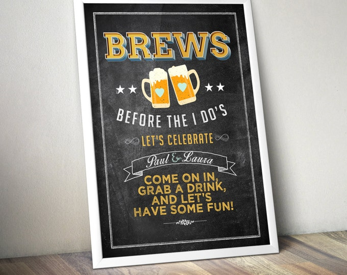 Party welcome sign, Brew before the I Do's, Coed wedding shower - Beer shower-BBQ, party decor, Digital file only