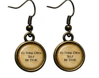 """William Shakespeare """"To Thine Own Self Be True"""" Earrings"""