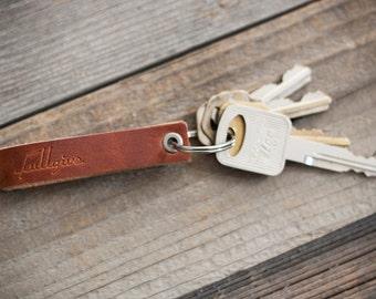 English Tan Leather Key Fob // FREE Personalization