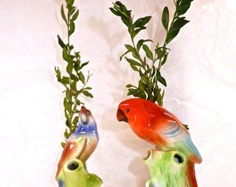 Charming Pair of Vintage Porcelain Bird Vases - Circa 1960's -