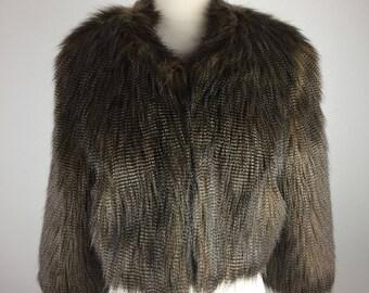 Vintage 90's 00's faux plush feather fur chubby jacket