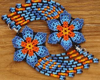Bright earrings with fringe Long fringe earrings Juicy beaded earrings Long seed bead earrings Boho earrings Comet jewelry Bright flowers