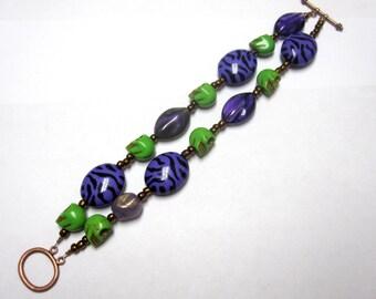 Day Of The Dead Bracelet Sugar Skull Jewelry 2 Strand Purple Green
